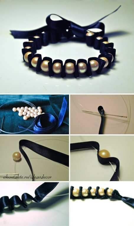 pearl bracelet with ribbon