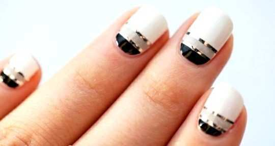 black-and-white-with-metallic-effect-nail-art