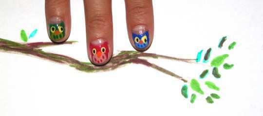 cute-owls-nail-art