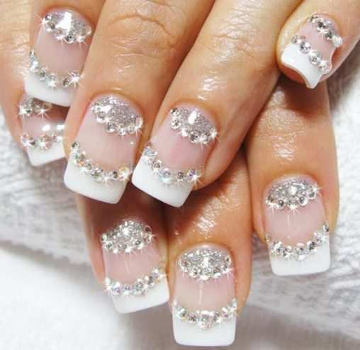 stone-studded-french-nails