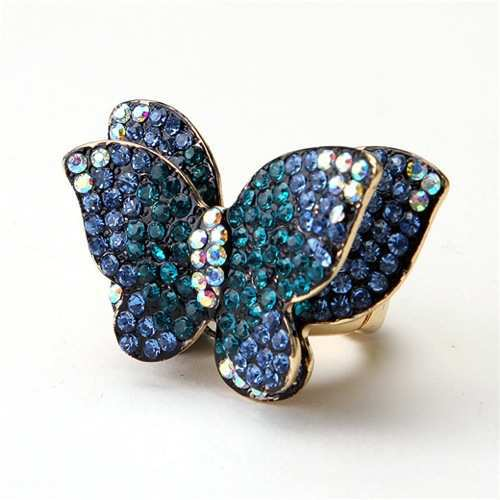 Blue rhinestone double-layered butterfly ring