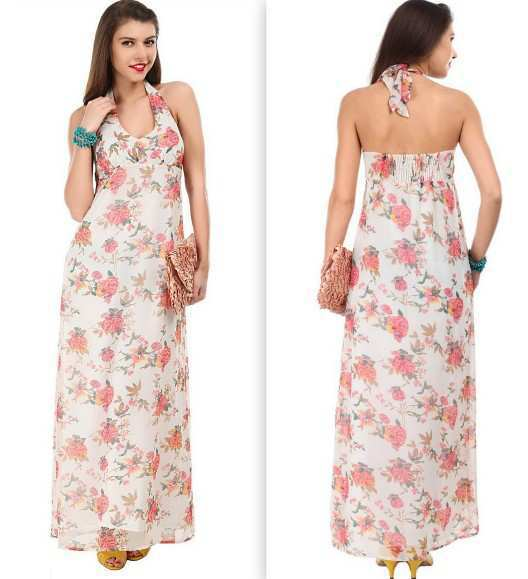 Dressberry-Off-White-&-Coral-Pink-Print-Maxi-Dress
