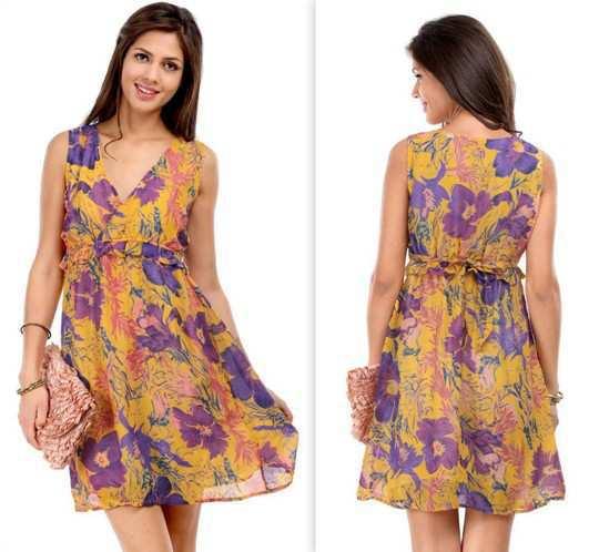 Hot-Berries-Yellow-Floral-Print-Dress