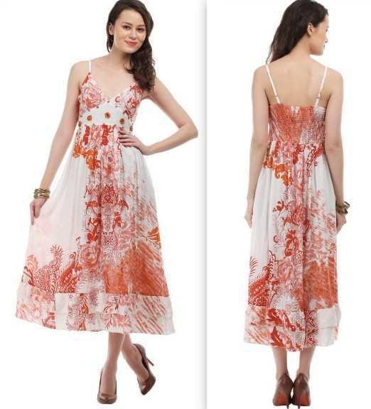 Lamora-Off-White-&-Red-Floral-Print-Dress