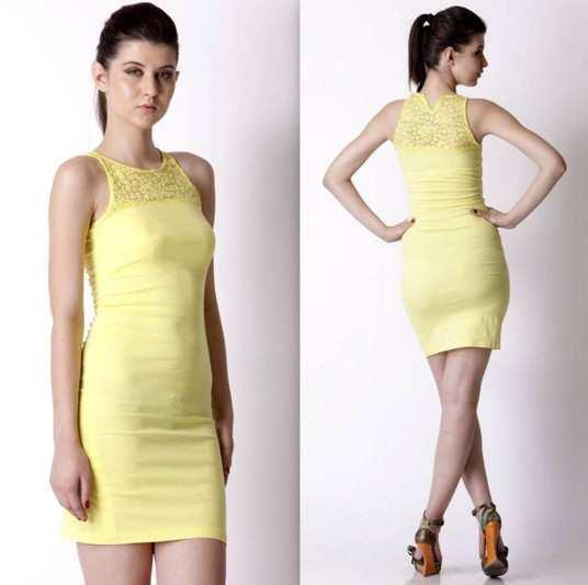 Trendy-Diva-Mustard-Women-Cotton-Dresses