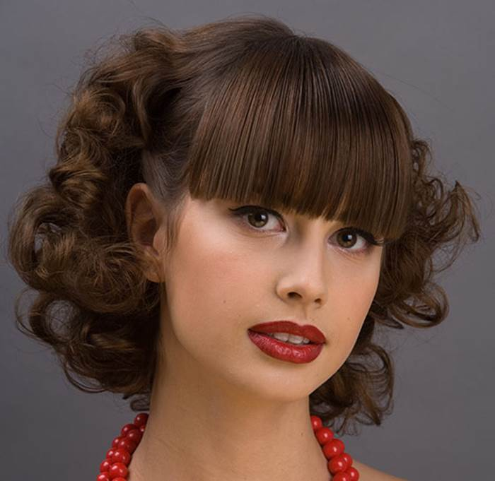 10 beautiful curly hairstyles with straight bangs