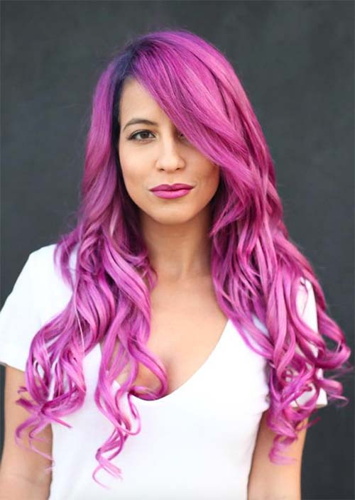 long bangs for pink curly hair