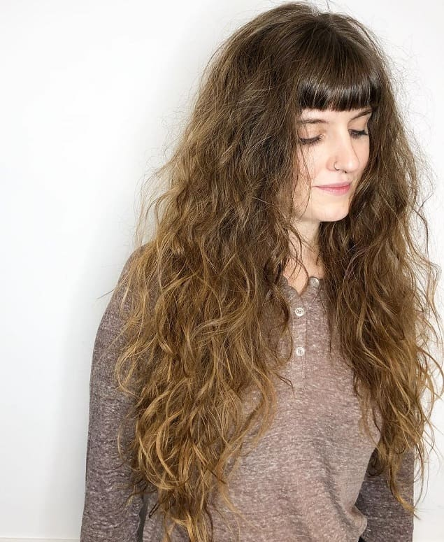 blunt cut straight bangs for curly hair