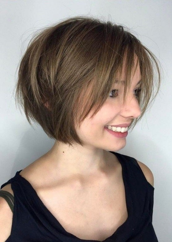 Choppy Stacked Bob with Long Bangs