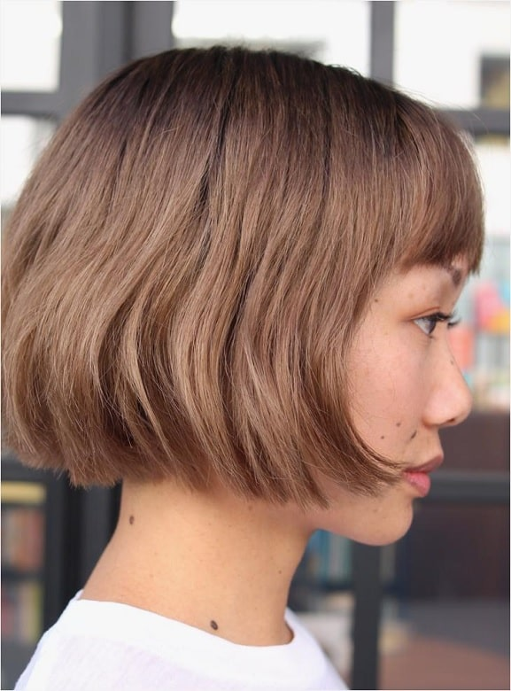 Stacked Layered Bob with Bangs