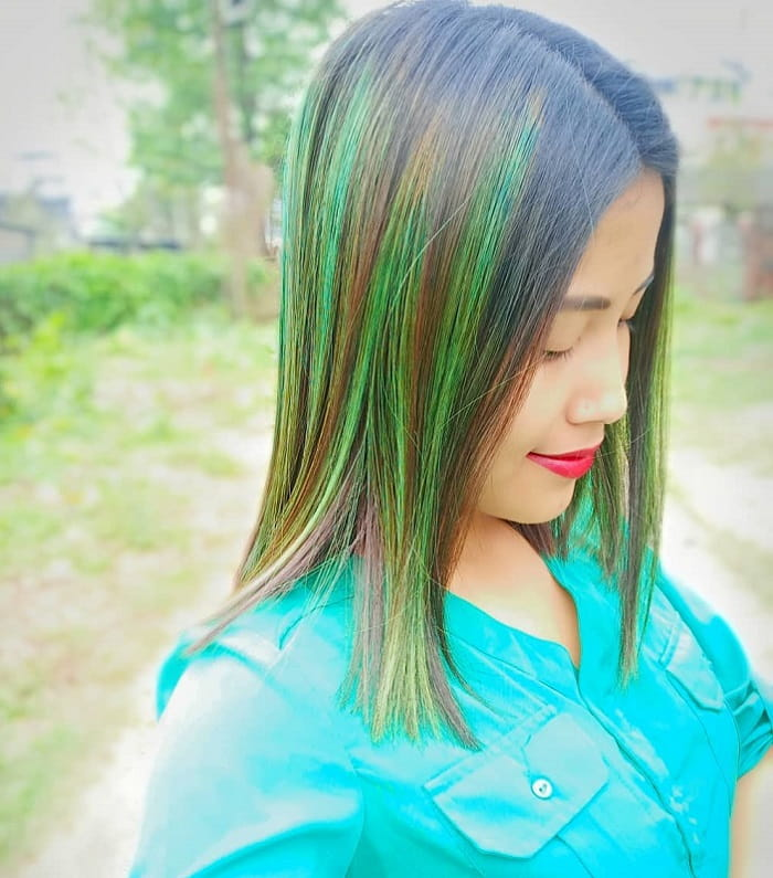 Asian hair with green highlights