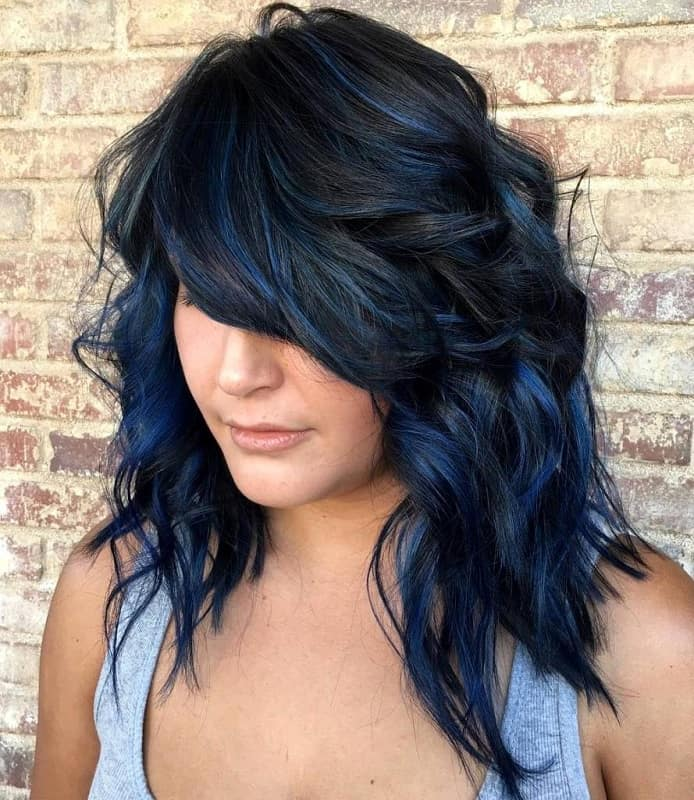 Asian hairstyle with blue highlights
