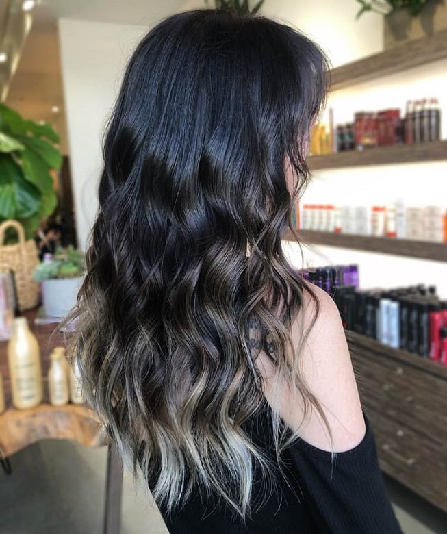 Black Hair with Brown Highlighted Tips