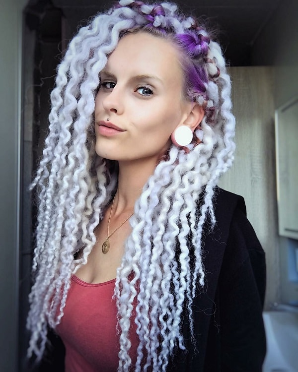 Icy Blonde Dreadlocks with Bright Purple Roots