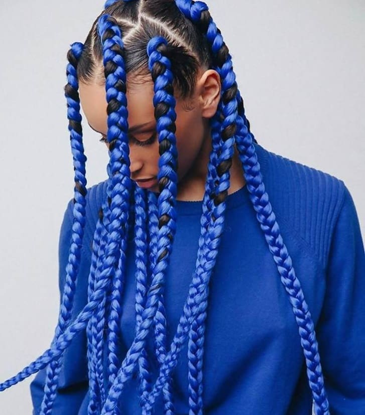 girl with blue dookie braids