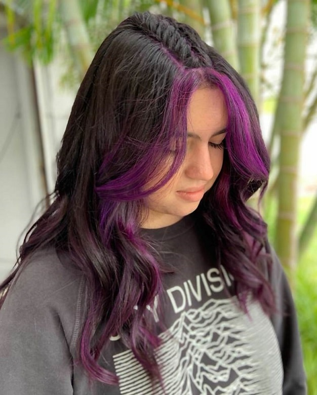 Long Wavy Hair with Face Framing Purple Highlights