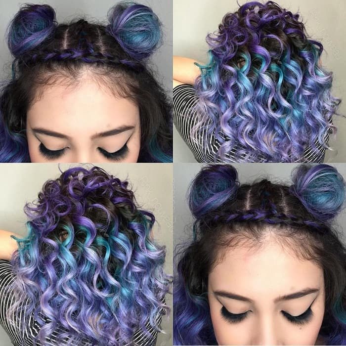 curly half up half down hair with double bun