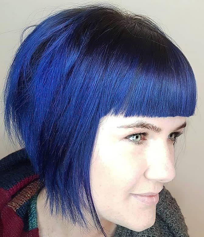 Blue Inverted Bob with Bangs and Layers