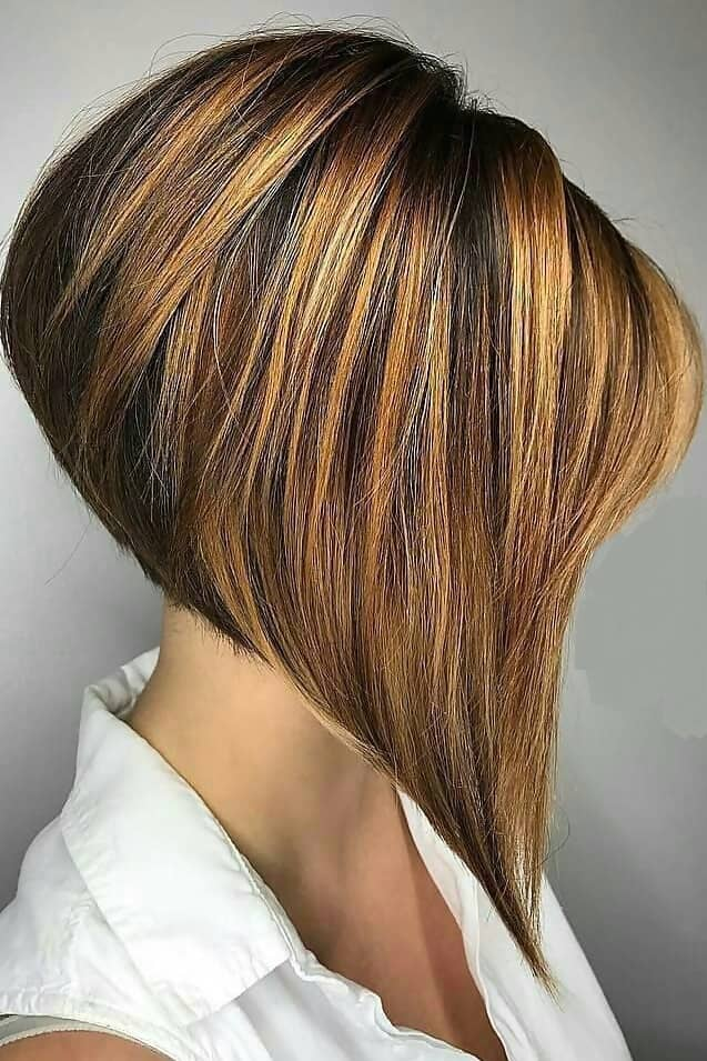 caramel inverted bob with side swept bangs