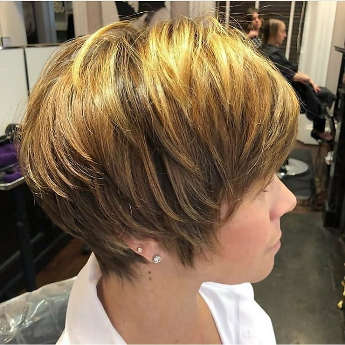 layered pixie cut with highlights