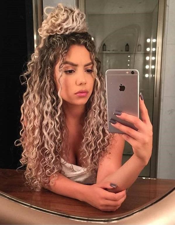 Half-Up Half-Down Blonde Curly Hair