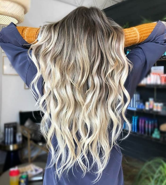 long blonde ombre curly hair