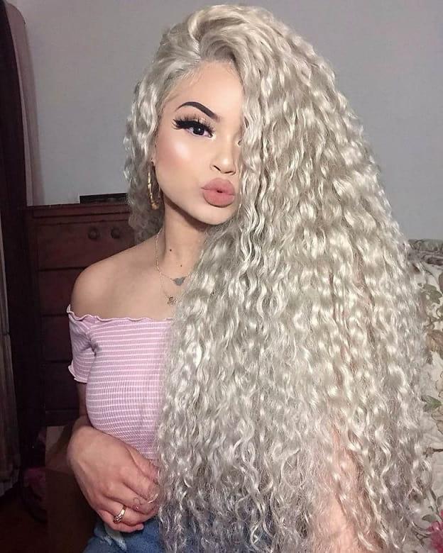Long Platinum Blonde Curly Hair