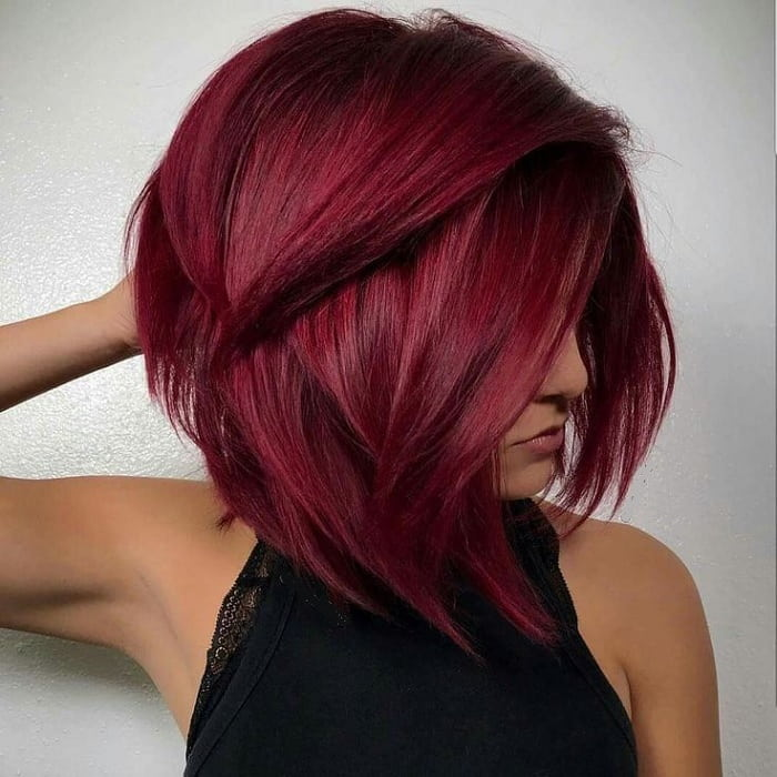 medium layered bob for red hair