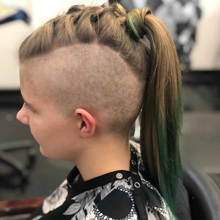 french braid mohawk with shaved sides