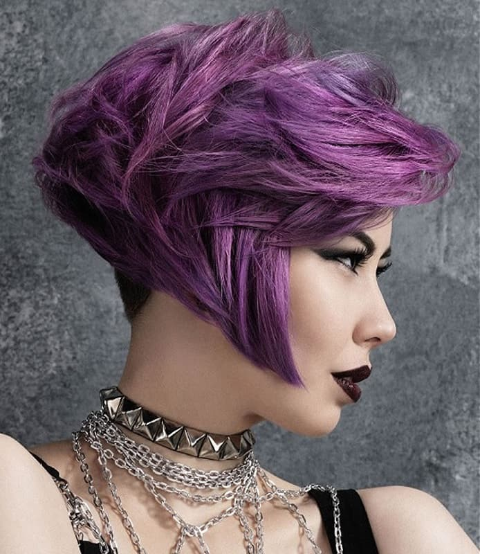 woman with purple ombre pixie cut