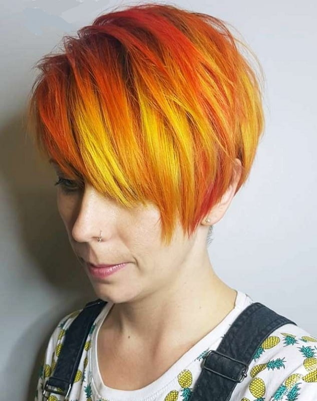 pixie cut with fire ombre