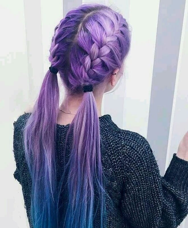 braided pigtails on pastel purple hair