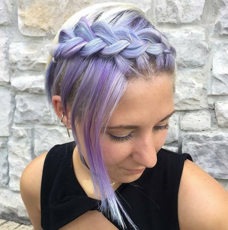short pastel purple with braid
