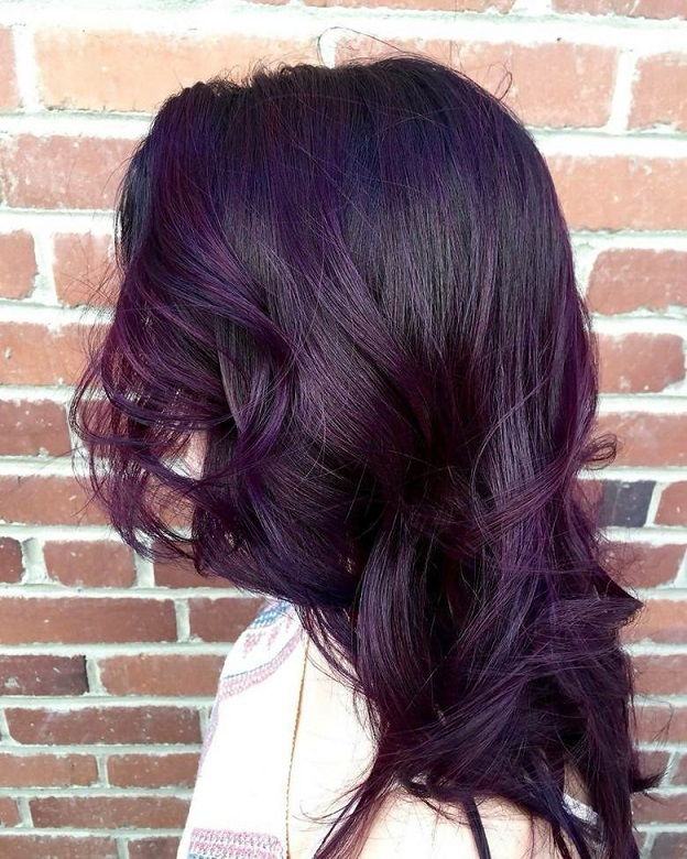 Plum Brown Hair with Purple Highlights