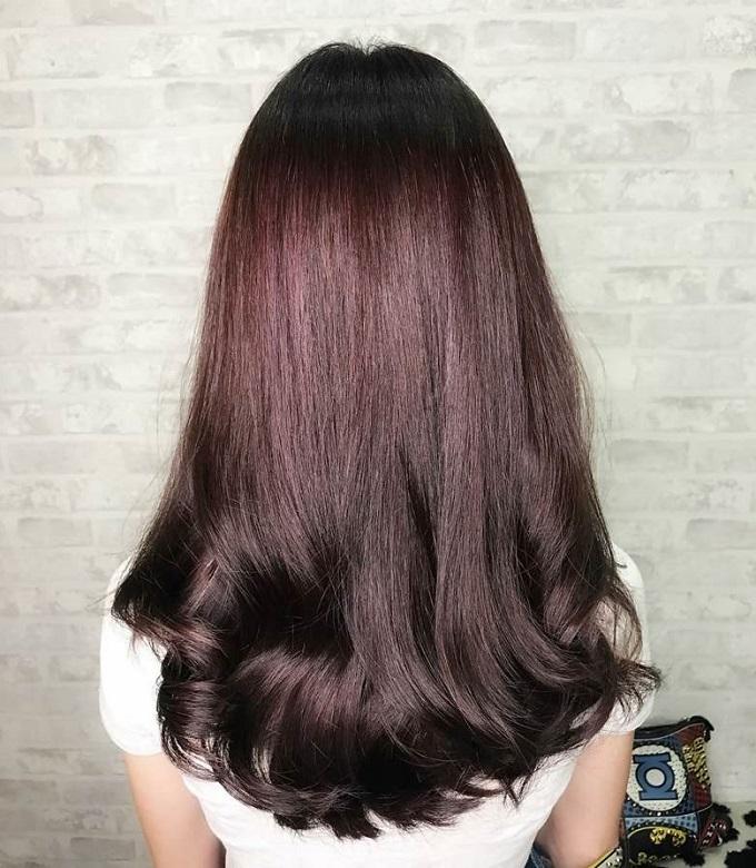 long plum brown hair color
