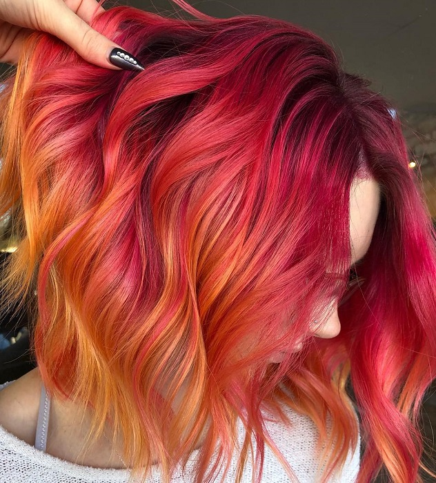 short red hair with yellow blonde highlights