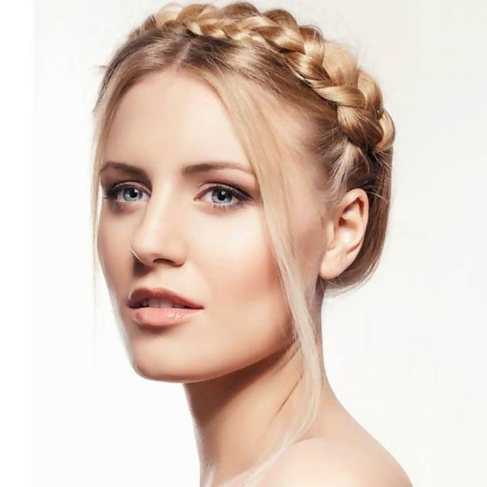 crown braid with short hair for fat face