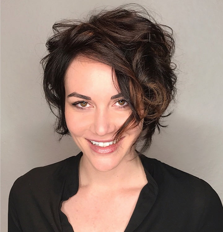 curly short layered bob for women