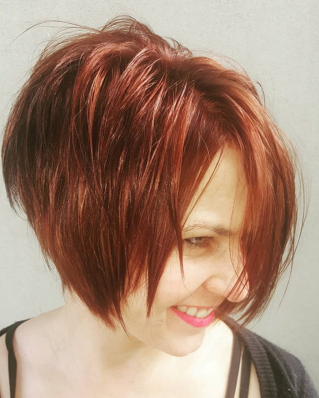 red short layered bob