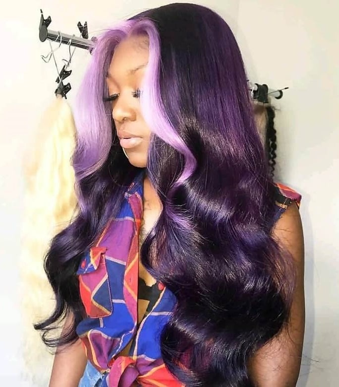 tracks hairstyle for purple wavy hair