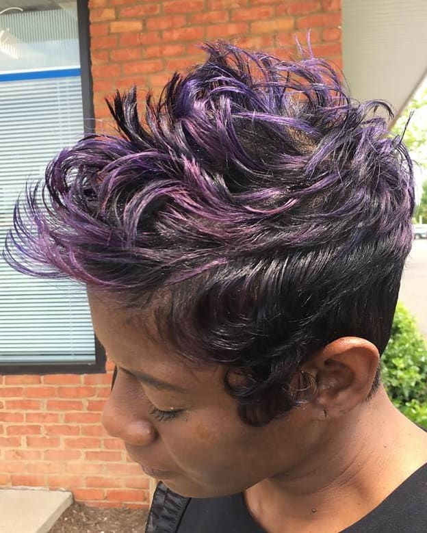 pixie with purple highlights for black women