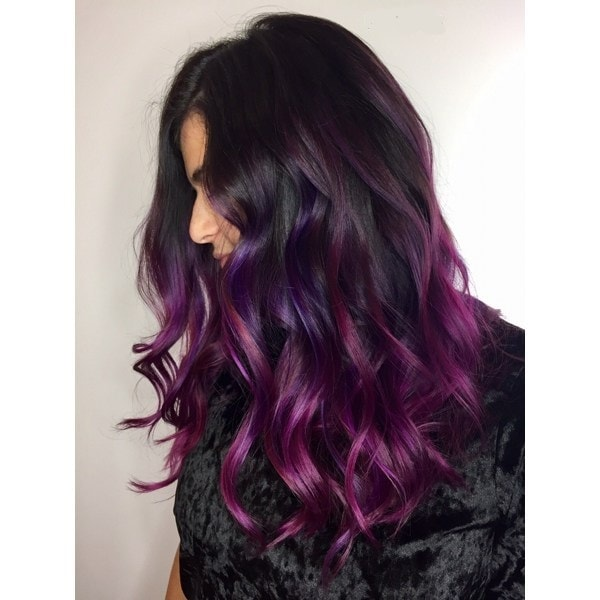 aubergine balayage hair