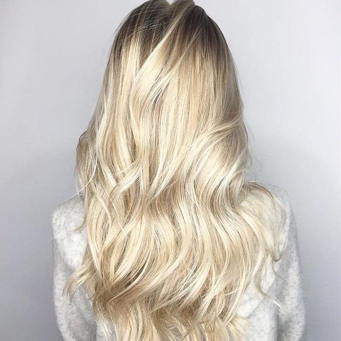 pearl blonde balayage on long hair