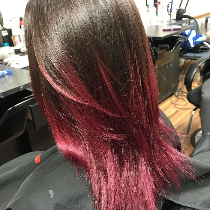 Medium Layered Black Hair with Red Tips