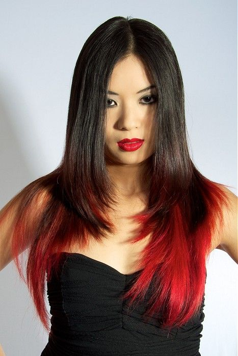 Long Layered Black Hair with Red Tips