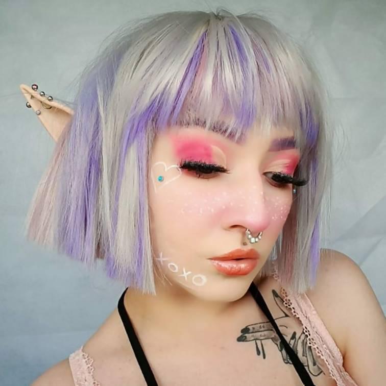 Platinum Blonde Bob with Lavender Purple Highlights