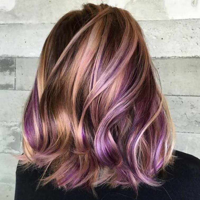 Dark Purple Highlights on Strawberry Blonde Hair