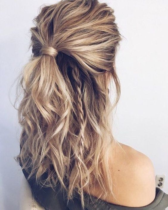 half up long hairstyle with choppy layers