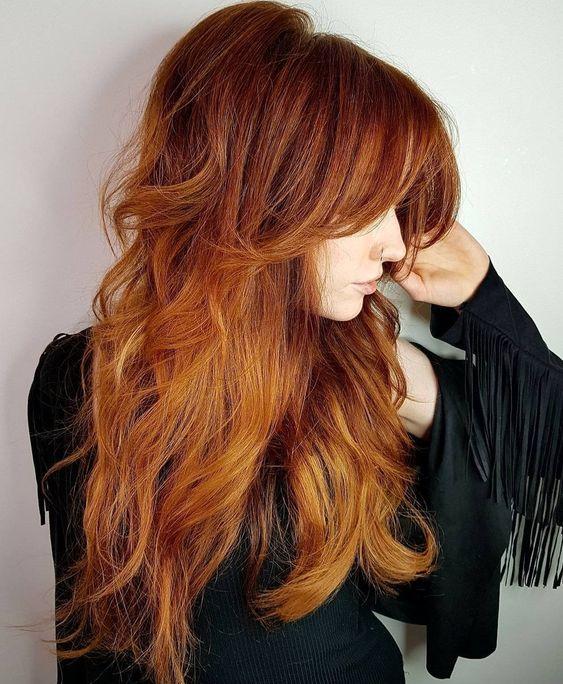 long hair with choppy layers
