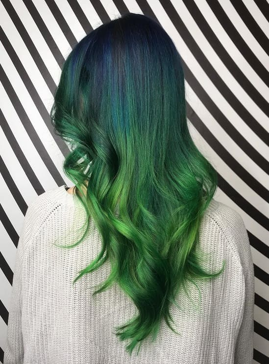 choppy layers with long green ombre hair